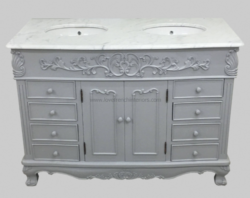 Bespoke Double Bowl French Medium Vanity Unit with Marble Top